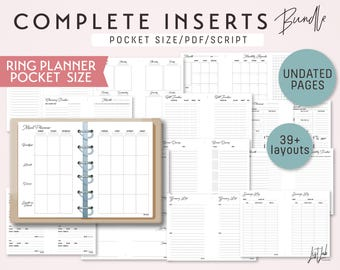 POCKET Size COMPLETE Inserts Bundle for Ring Planners - Printable PDF - Script Theme - 39+ layouts