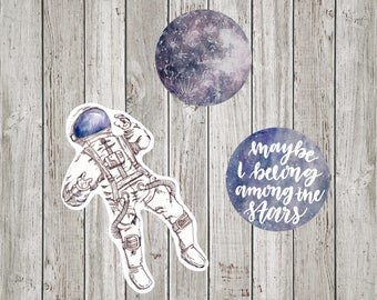 Galaxy Astronaut Moon Stickers for Journal and Planner