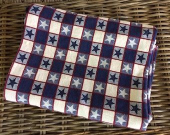 vintage red white & blue tablecloth for 4th of July