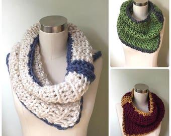 Cowl Neck Scarf / Crochet Scarf Handmade / Green Infinity Scarf for Women / Green Scarf / Black Scarf Winter