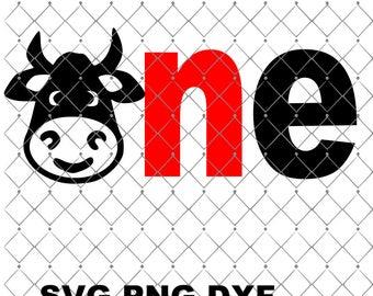 ONE Cow Svg Png, Dxf , Birthday Vinyl Decal Design, Barnyard Theme, Decal Design, Birthday Cow One, Farm Animal Svg, Birthday Shirt Design