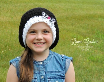 CLEARANCE!! Ready to Ship!! Handmade Black and White Slouchy Crochet Hat with Bow / Photo Prop