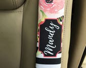Pretty pink seat belt strap cover, Black white stripes with flowers, Floral car decor, Unique gift for daughter, First driver (1777)