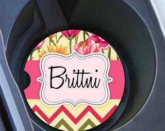 Personalized floral cup holder coaster, Pink and yellow auto accessories, Chevron car decor for her (1645)