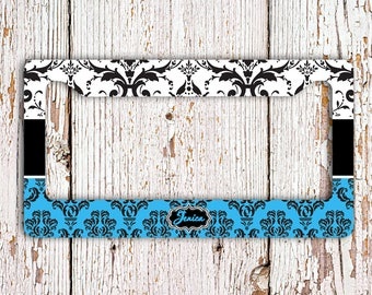 Unique gift for women, Monogram license plate frame or cover, Custom car accessory Pretty license plate accessory Blue black damask (1389)