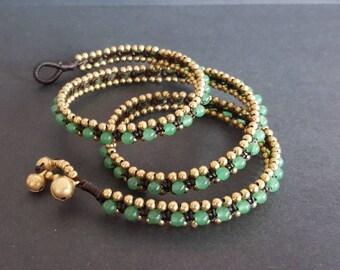 Jade Wax cord Brass Wrap  Bracelet/Necklace