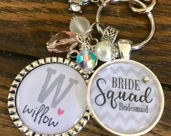 BRIDE Squad, personalized bridal party gifts, bachelorette party favors, bridesmaid, keychain, wedding jewelry, maid of honor, flower girl