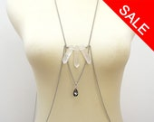 Rock Crystal Body Jewelry with Teardrop Swarovski Crystal and Stainless Steel Chain, Unique Body Accessories - ON SALE (WAS 64)