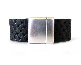 Black Leather Bracelet - Black Leather Jewelry - Cuff Bracelet - Bracelets for Men - Bracelets for Women - Leather Bracelet - UL0609