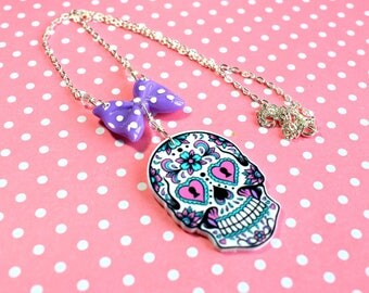 Sugar Skull Necklace, Skull Necklace, Day of the Dead, Gothic Jewellery, Candy Skull Necklace, Sugar Skull Jewelry, Cute Skull Necklace,