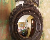 ON SALE Mirror, Convex, Vintage, Eagle, Homco, Wall Mirror, Round, Porthole, Maritime, Nautical, Gold, Glass, Plastic, Cottage Chic, Wall Ha