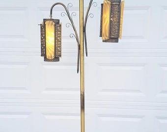 ON SALE Vintage, Mid Century, Floor Lamp, Hollywood Regency, Antique Brass Finish, Lighting, Retro, Pole Lamp, Lamp