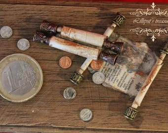 Dollhouse miniature aged couple of medieval scrolls