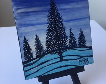 Winter Silhouette Trees Mini Painting