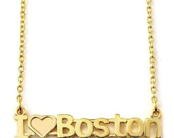 ON SALE I Love Boston nameplate Necklace in Sterling Silver