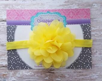 Yellow Baby Headband, Yellow  Headband, Baby Headband, Infant Headband, Newborn Headband, Yellow Chiffon Petal Flower