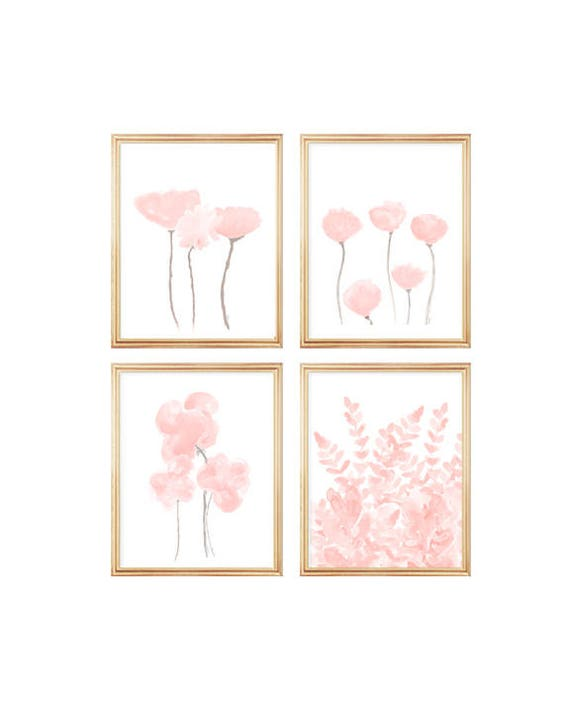 Blush Flowers Gallery Wall, Set of 4-8x10 Watercolor Prints