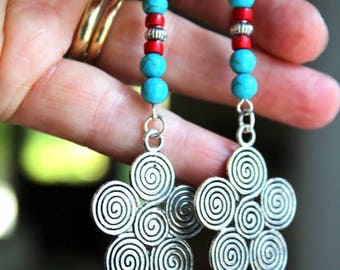 Bohemian Silver Swirl and Turquoise Dangle Earrings