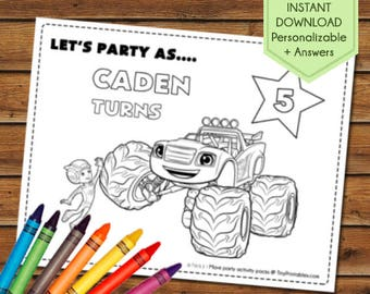 Blaze and the Monster Machines Party Favors, Blaze Monster Machines Coloring Pages, Blaze Party Games, Birthday Favors, Party Activity Book