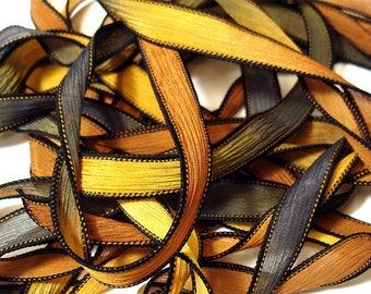 "DETOUR 42"" hand dyed wrist wrap bracelet silk ribbon//Yoga wrist wrap bracelet ribbons//Silk wrist wrap ribbon// By Color Kissed Silk"