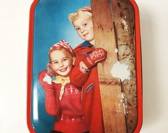 Vintage Edward Sharp & Sons Sharp's Toffee Tin with Children Playing in the Snow