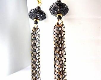 Black Tassel Earrings, Drop earrings, Chain earrings, Dangle earrings, glam earrings, Black and gold, 2018 trends, arabesque earrings
