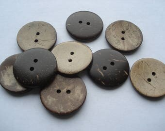 25mm Coconut Shell Sewing Buttons, 2-Hole Round Brown Coconut Buttons, Pack of 15 Coconut Buttons, CO01