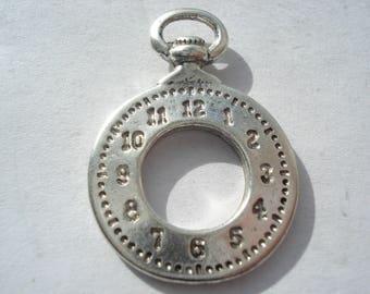 28mm Antique Silver Clock Tibetan Style Alloy Pendants, Lead and Cadmium Free, Pack of 5 Silver Clock Pendants, C369