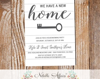 Simple Shiplap Inspired Housewarming Party Invitation - Shiplap New Home Open House Party Invite - White Shiplap Moving Announcement Invite