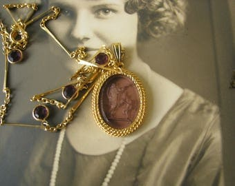 Vintage Gold Plated Purple Amethyst Glass Intaglio Glass Pendant and Drops Necklace