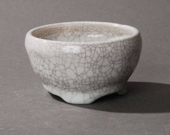 Mini Bonsai pot. White crackle #2