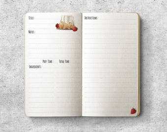 Printable Personal Planner Insert.  Recipe. Cake