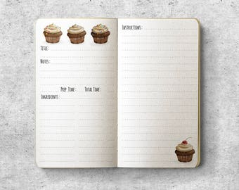 Printable Personal Planner Insert.  Recipe. Cupcakes