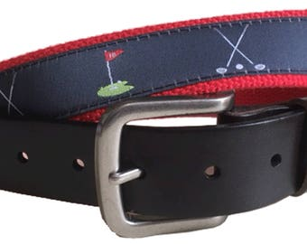 Golf Leather Belt / Leather Belt / Canvas Belt / Preppy Webbing Belt for Men, Women and kids/Repeating 9th hole and 18th hole Golf Ribbon