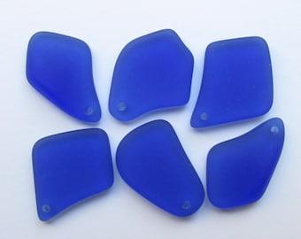 "SEA GLASS PENDANTS 1"" Freeform Royal Blue Top Drilled Cobalt Seaglass Recycled Beachy Ocean"