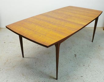 FREE SHIPPING mid century modern Broyhill Brasilia walnut expanding dining table with leaf