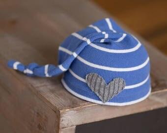Newborn Boy Hat, Newborn Knot Hat, Blue and White Striped Newborn Hat with Gray Heart, Newborn Photography Prop, Newborn Knot Hat, RTS Hats