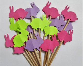 Set of 24  Bunny Party Picks - Cupcake Toppers - Tothpicks - Food Pick