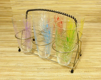 Set of 6 - Mid Century Modern Drink Glass Brass Caddy - Vintage - 1950s 1960s 1970s - Colorful Tumblers - Rockabilly Tiki MCM