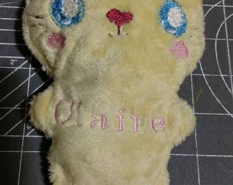 Stuffed kitty with optional name embroidered on it.