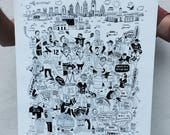 FREE SHIPPING - Always Sunny in Philly Sports -- Paul Carpenter Art -- Philly Artist Screen Print -- 16 x 20""
