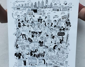"""FREE SHIPPING - Always Sunny in Philly Sports -- Paul Carpenter Art -- Philly Artist Screen Print -- 16 x 20"""""""
