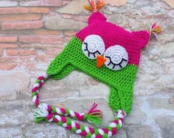 Crochet owl hat.sleeping owl hat.Pink,green owl hat