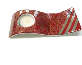 """Silver bubbles"" Limoges porcelain candle holder"