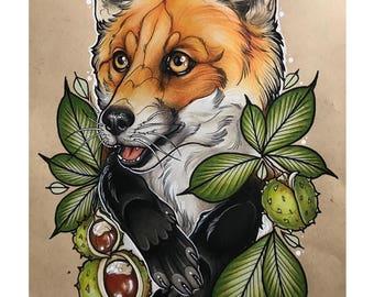 A4 Conker Fox Print