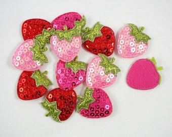 "3/4"" Sequin Strawberry Appliques - Assorted Color - Sequin Appliques - Sequin Strawberry Padded - Appliques -Hair Accessories Supplies"
