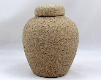Sand Finish Ginger Jar Ceramic Pet Urn, Cat or very small Dog or any small animal, Hand made -4.5 inches tall