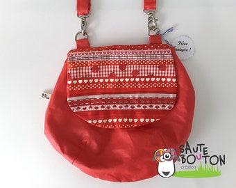 Red linen handbag