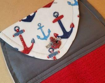 Nautical Anchors Hanging Kitchen Towel, Dish Towel, Kitchen Linens, Red, Grey, Navy, Ocean, Housewarming Gift, Hostess Gift, Beach House
