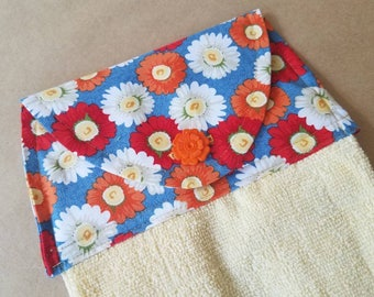 Floral Hanging Kitchen Towel, Daisy Button Top Dish Towel, Daisy Kitchen Towel, Yellow, Red, Flower Themed Kitchen Linens, Housewarming Gift